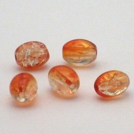 30 stuks crackle glas kralen ovaal 11 x 8,5mm oranje transparant