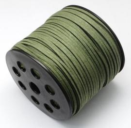 Faux suède veter,  mos groen, 1 meter x 3mm