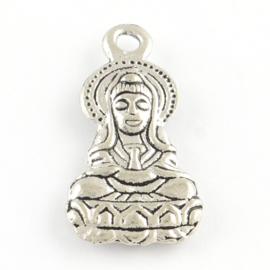 3 x Tibetaans zilveren Boeddha Buddha 26 x 13mm  gat: 2,5mm