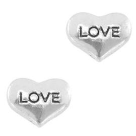 2 x Floating Charms Love Hartje Antiek Zilver