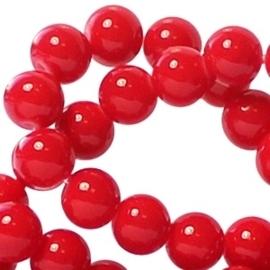 20 stuks  Keramische glaskralen 6mm Diep Rood