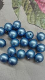 40 stuks 8mm Glasparels mat blauw Gat: 1mm