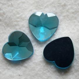 3 x Plaksteen acryl-hart blauw 18 mm achterzijde zilver