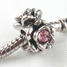 Prachtige European Jewelry kraal met bergkristal 12x12x9mm  gat: 4,5mm roze