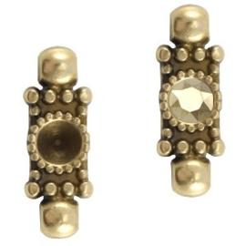 1x DQ setting 2 ogen voor SS24 puntsteen Antiek brons ca. 20x7mm (voor SS24 puntsteen 5,3mm)