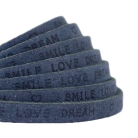 "Per 20 cm Plat 5 mm DQ leer met ""smile love dream"" print Dark denim blue"