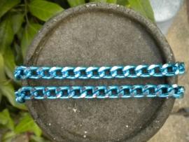100 cm prachtige Jasseron turquoise-zilver schakel 8 x 12 mm