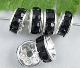 50 stuks Verzilverde Kristal Rondellen 8mm zwart