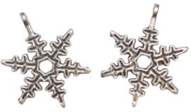 2 x hanger sneeuwvlok zilver 23 mm gat 1 mm