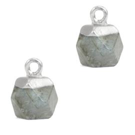 1 x Natuursteen hangers hexagon Fossil grey-silver Grey Cloudy Quartz