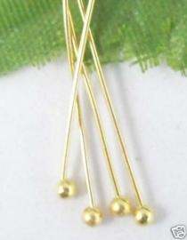 100 stuks Nietstiften 20mm 0,5mm met bolletje goudkleur
