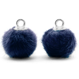 2 x Pompom bedels met oog faux fur 12mm Dark blue-silver
