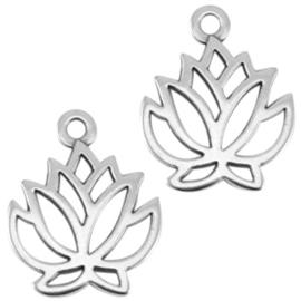 1x DQ metaal bedel lotus Antiek zilver (nikkelvrij) 23,5 x 19mm oogje: 2mm