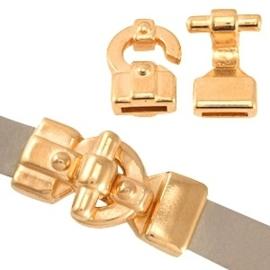 DQ metaal haak slot (voor 10mm plat DQ leer of trendy koord) Rosé goud (nikkelvrij)