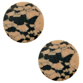 1 x Cabochon basic plat stone look 12mm Sand brown-black