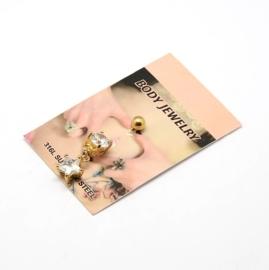 RVS Navel piercing met kristal  goudkleur  26mm, 1,6mm Ster: 12x9x6mm