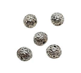 10 x Tibetaans zilveren bewerkte ronde kraal Kleur: antiek zilver Maat +/- 8mm