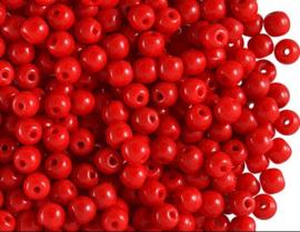 c.a.  450 stuks DQ ronde glaskralen 3mm opaque 15 gram gat  c.a. 1mm rood