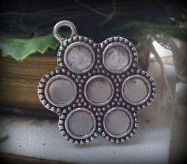 Per stuk zilveren hanger bloem 38 mm zonder steentjes