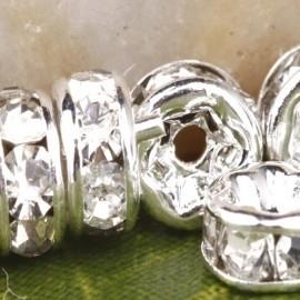 50 stuks Verzilverde Kristal Rondellen 6 mm blank