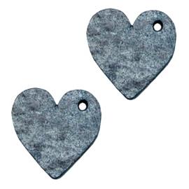 1 x DQ leer hangers hart 25mm Vintage blue