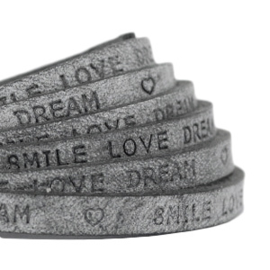"Per 20 cm Plat 5 mm DQ leer met ""smile love dream"" print Antracita zwart"