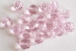 10 x Glaskraal facet transparant licht-roze 6 mm