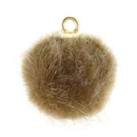 Pompom bedels faux fur 16mm goud bruin