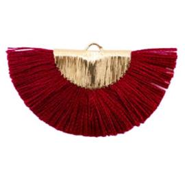 Kwastjes hanger Gold-port red