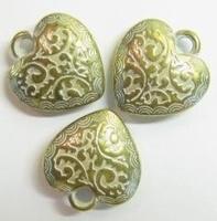 10x goud/zilver metallook hanger hart 20 mm