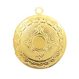 1 x Basic Quality metalen bedels medaillon rond Goud 22x20mm