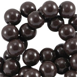 30x Glaskralen opaque 6mm Dark chocolate brown