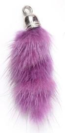 Super zachte Pluizenhanger - Fluffy 40 x 15mm oogje 2mm licht paars