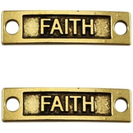 1x Bedel Faith 2 ogen Antiek Goud 34x9 mm