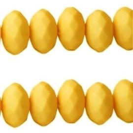 20 stuks Acryl facet kralen disc 6 x 4 mm   geel