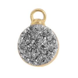 1 x  Natuursteen hangers crystal quartz 10mm Silver-gold