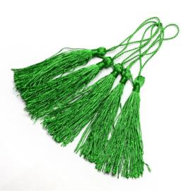 Satijn kwast lengte kwast 9 cm incl. lus 130 x 6mm  green