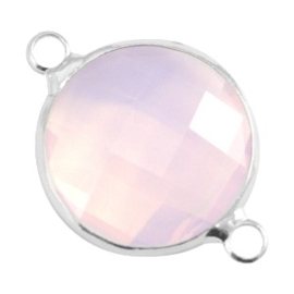 Crystal glas tussenstukken rond 16mm Light rose opal-Silver