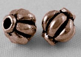 10 stuks metalen kralen, rood koper kleur 5,4 x 6mm gat: 1.5 mm