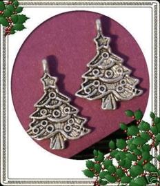 6 x Tibetaans zilveren kerstboom 24x18mm