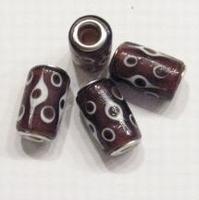 Per stuk Glaskraal met metaal European-style Paars met stippen 17 mm