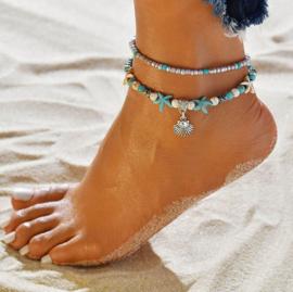 Armband/enkelbandje met schelp 21-26cm Turquoise howlite