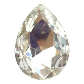 2x Kristallen facet cabochon in de vorm van een druppel 13 x 18mm kristal