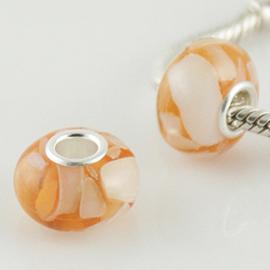 Oranje schelp 925 Sterling Zilver met Muranoglas