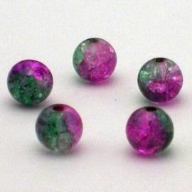 30 stuks crackle glas kralen 8mm roze groen