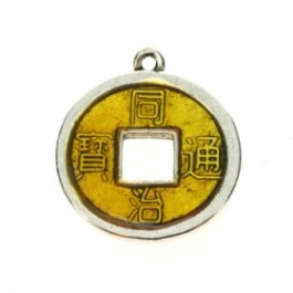 2 x Chinese geluksmunt emaille 20 x 23mm oogje: 1,5mm geel