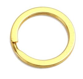 2 stuks metalen sleutelhangerringen 35mm x 2,5mm goudkleur