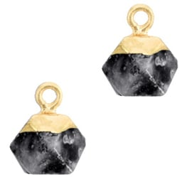 1 x Natuursteen hangers hexagon Anthracite-gold Shimmer Stone