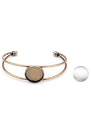 Metalen armband met cabochonhouder tray 20mm Geel koper kleur  met  glascabochon