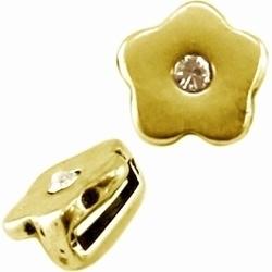 Per stuk metalen Ibiza schuiver bloem met swarovski kristal Goud  Ø10mm